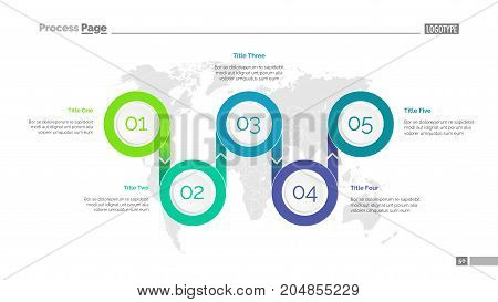 Five options process chart slide template. Business data. World map, diagram, design. Creative concept for infographic, presentation. Can be used for topics like management, research, logistics.