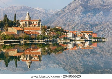 Bay of Kotor and Prcanj town. Montenegro