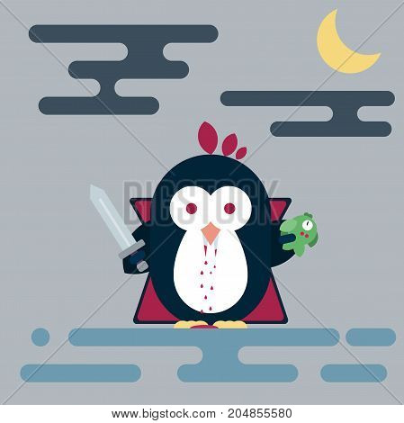 Vector flat penguin character stylized as vampire with sword and with dead fish. Modern flat illustration.