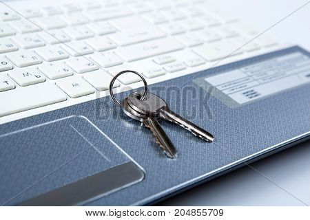 two keys on the laptop keyboard close up
