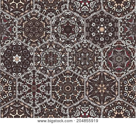 A rich set of hexagonal ceramic tiles. Eastern colored carpet. Colorful elements in oriental style. Vector illustration.