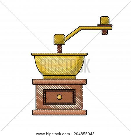 coffee grinding with crank in front view colored crayon silhouette vector illustration