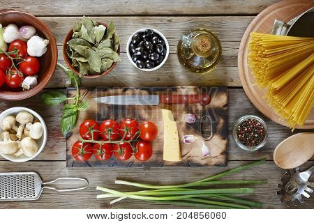 Culinary Layout. Ingredients For The Preparation Of Italian Pasta Isolated On White Frne. Italian Cu
