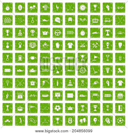100 awards icons set in grunge style green color isolated on white background vector illustration