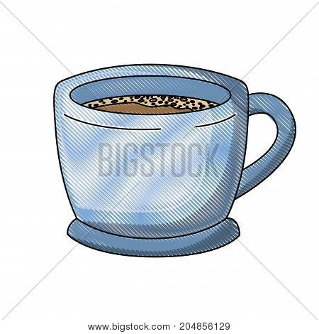 cup of coffee with handle colored crayon silhouette vector illustration