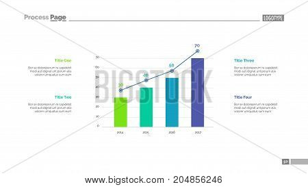 Four columns bar chart slide template. Business data. Option, diagram, design. Creative concept for infographic, presentation. Can be used for topics like management, research, statistics.