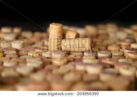 Wine-producing countries. Chile's name on wine corks.