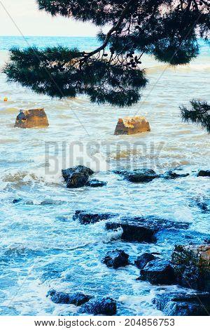 Sea Coast. Sea View. The Stony Coast Of The Adriatic Sea