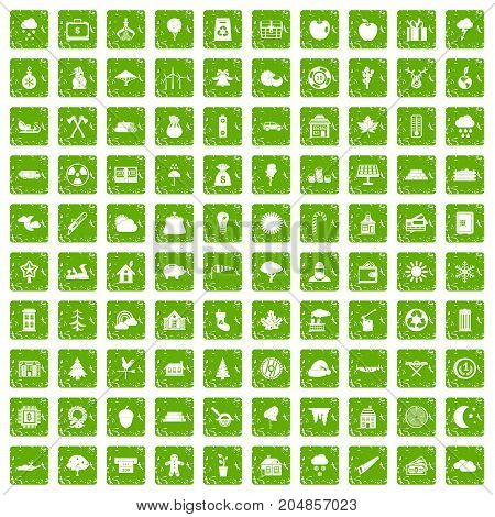 100 lumberjack icons set in grunge style green color isolated on white background vector illustration