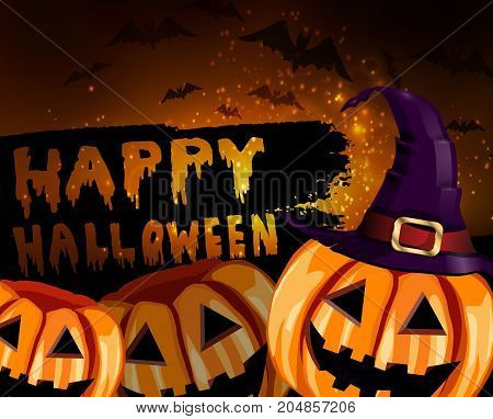 Happy Halloween Calligraphy. Halloween banner. Halloween lettering with witch hat bats two pumpkins and stars vectore