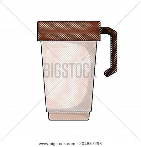 glass disposable for hot drinks with handle colored crayon silhouette vector illustration