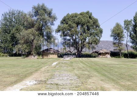 The archaeological site containing remains of a Neolithic lakeshore settlement (Macedonia, northwest Greece)
