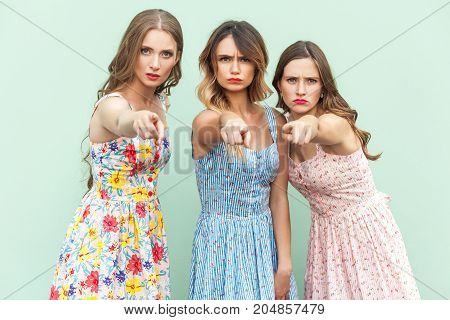 Hey You! Young Adult Womans, Pointing Fingers And Looking At Camera.