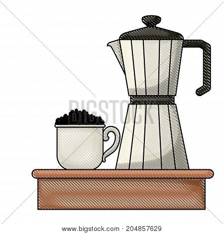 porcelain mug with pile coffee beans and metallic jar of coffee with handle colored crayon silhouette vector illustration