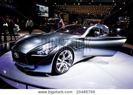 Moscow, Russia - August 25:  Grey Sport Car Infinity Essence At Moscow International Exhibition Inte