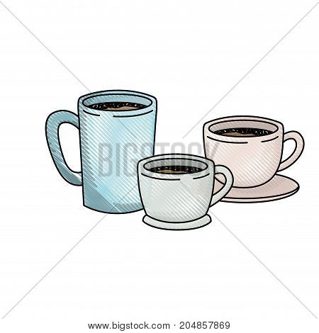 coffee cup set colored crayon silhouette vector illustration