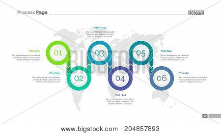 Six options process chart slide template. Business data. Step, diagram, design. Creative concept for infographic, presentation. Can be used for topics like management, marketing, logistics.