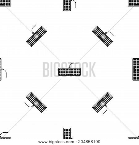 Black computer keyboard pattern repeat seamless in black color for any design. Vector geometric illustration