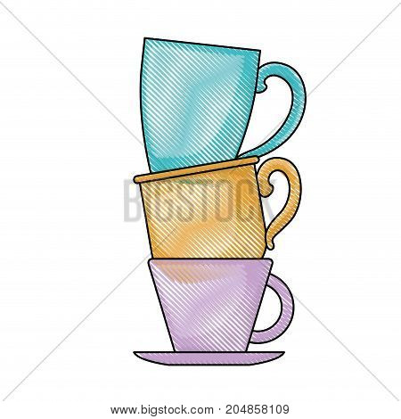 porcelain cup stack colored crayon silhouette vector illustration