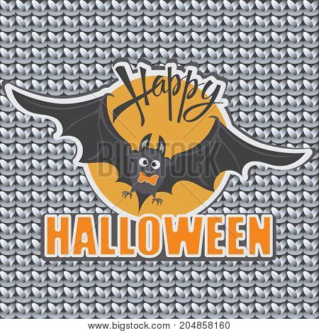 Bat. Orange sun. Happy Halloween. Emblem, sticker for the holiday on a gray knitted background. Design for children's clothes decoration