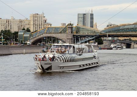 Modern Pleasure Boat Sails Along The Moscow River.