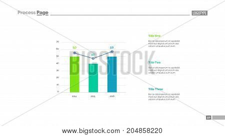 Three columns bar chart slide template. Business data. Growth, diagram, design. Creative concept for infographic, presentation. Can be used for topics like management, economics, statistics.