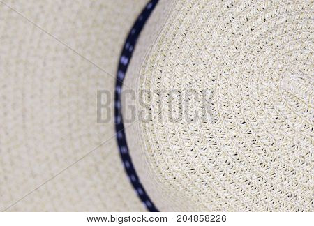 Closeup woven straw hat detail for background texture