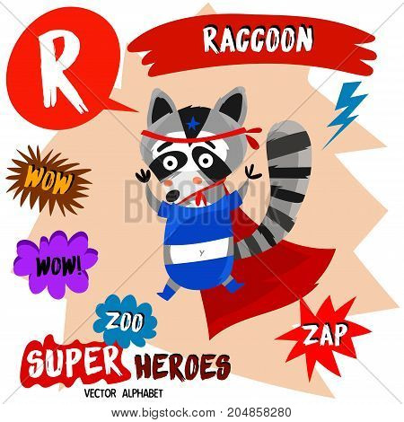 Super Big Set. Cute Vector Zoo Alphabet With Animals In Cartoon Style.letter R-raccoon In Superheroe