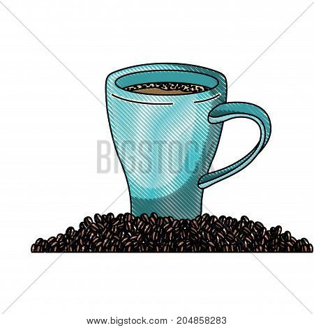 porcelain cup and beans of coffee colored crayon silhouette vector illustration