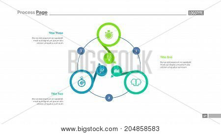 Three options process chart slide template. Business data. Option, diagram, design. Creative concept for infographic, presentation. Can be used for topics like management, banking, teamwork.