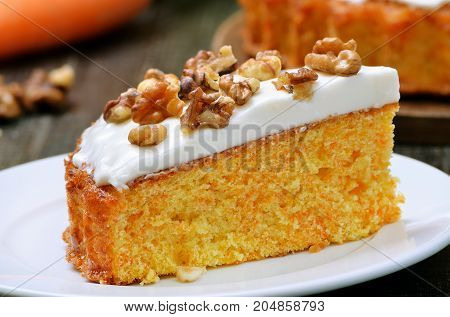 Homemade piece of carrot cake on white plate close up