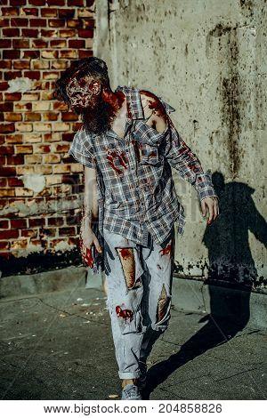 Halloween Man Walking On Grunge Background