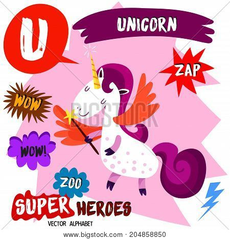 Super Big Set. Cute Vector Zoo Alphabet With Animals In Cartoon Style.letter U-unicorn In Superheroe
