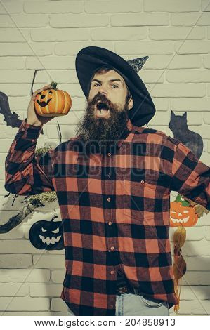 Halloween Hipster With Angry Face In Plaid Shirt