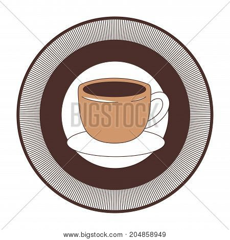 decorative circular emblem of cup of coffee with handle on dish silhouette color section vector illustration