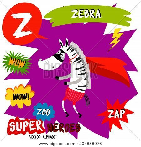 Super Big Set. Cute Vector Zoo Alphabet With Animals In Cartoon Style.letter Z-zebra In Superheroes