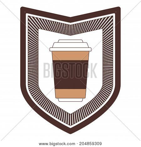 decorative logo shield of glass disposable for hot drinks with lid silhouette color section vector illustration