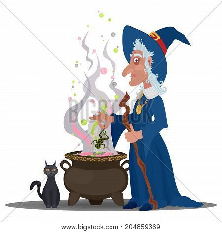old witch brewing a potion with a cat in a cauldron