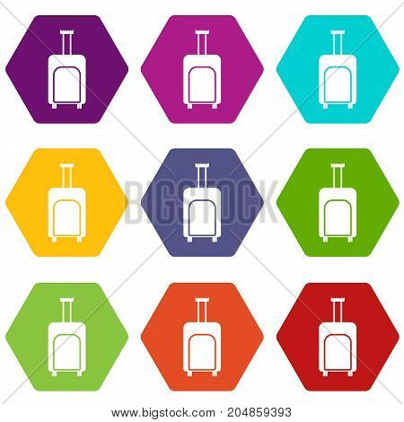 Travel suitcase icon set many color hexahedron isolated on white vector illustration
