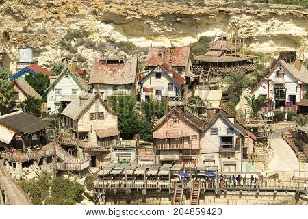 Papay village on Malta, old wooden houses