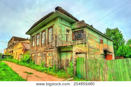 Traditional Russian wooden house in Rostov, the Golden Ring of Russia