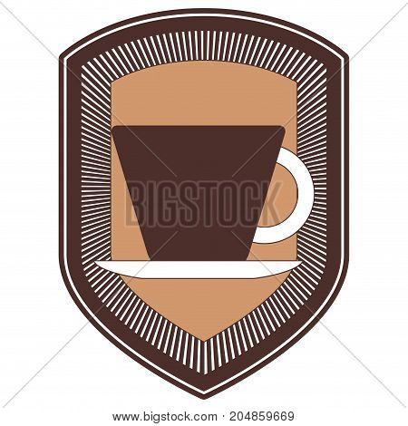 decorative logo shield of porcelain cup on dish silhouette color section vector illustration