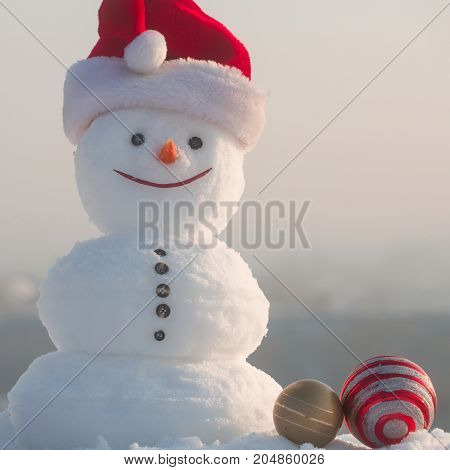 New Year Snowman From White Snow With Decoration Toy.