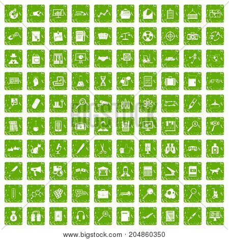 100 magnifier icons set in grunge style green color isolated on white background vector illustration