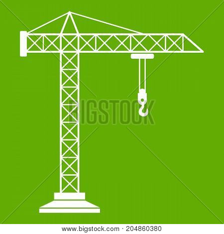 Construction crane icon white isolated on green background. Vector illustration