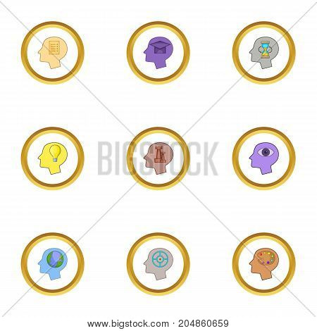 Creative thoughts inside man head icons set. Cartoon style set of 9 creative thoughts inside man head vector icons for web design
