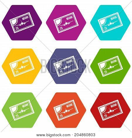 Stamp with plane and text Miami inside icon set many color hexahedron isolated on white vector illustration