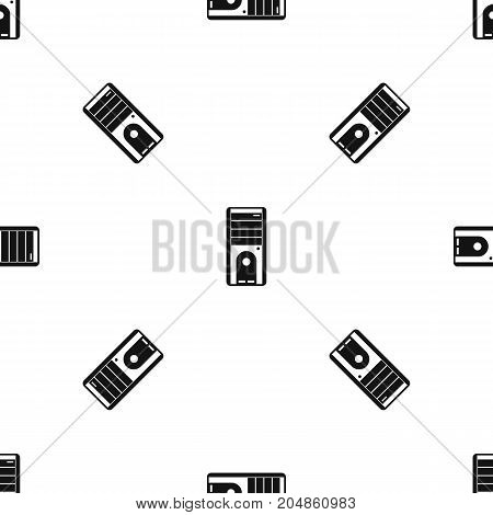Computer system unit pattern repeat seamless in black color for any design. Vector geometric illustration