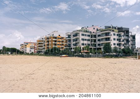 ALBANIA GOLEM- September 20 2015: Residential complexes on the Adriatic coast with a sandy beach