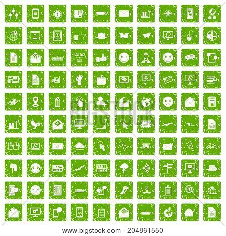 100 mail icons set in grunge style green color isolated on white background vector illustration